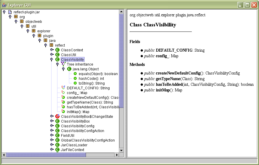 The Java reflector screenshot